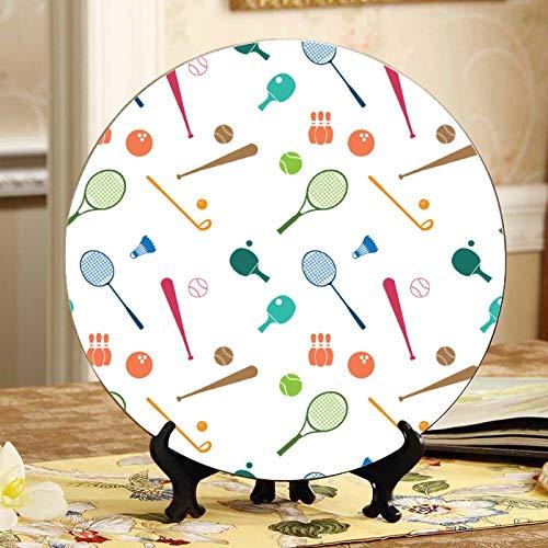 Raqueta de bádminton y raqueta de tenis Platos de cerámica bonitos Platos de cerámica para niños Plato oscilante para el hogar con soporte de exhibición Decoración Platos de cerámica para niños del