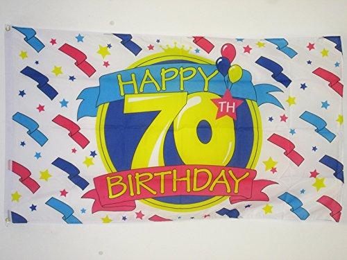 AZ FLAG Drapeau Joyeux Anniversaire 70 Ans 150x90cm - Drapeau Happy Birthday 90 x 150 cm - Drapeaux