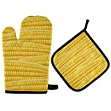 TropicalLife XXNO Manoplas de maíz patrón de plantas de horno y soportes de olla resistentes al calor guantes de cocina para hornear barbacoa
