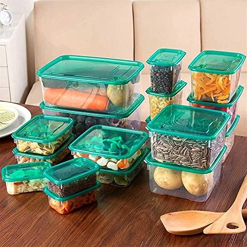 JoHUAZ 17 unids/Set Cocina Microondas Horno Refrigerador Sello de refrigerador Caja de Almacenamiento Caja de Almacenamiento de contenedor de plástico Transparente (Color: 17pcs) (Color : 17pcs)