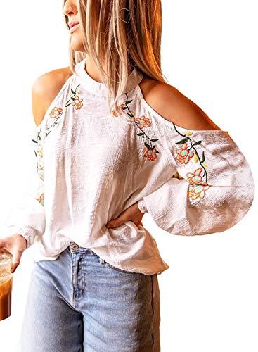 CoraFritz Casual Flowers - Cabestro para mujer con blusa sin hombros y mangas largas Blanco XL