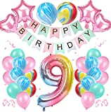 9 Años Decoración de Cumpleaños de Niña Color Degradado Número 9 de ágata Número Gigante 9(40'-100CM) Aluminio Colorido Globos de Cumpleaños de Látex para Niñas