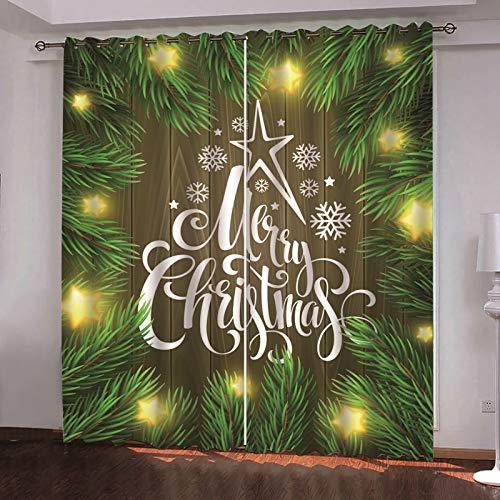Beydodo Cortina Poliester Habitacion Cortinas Opacas Termicas 2 Piezas Árbol de Navidad Copo de Nieve con Merry Christmas Verde Marrón Amarillo Cortina 264x115CM