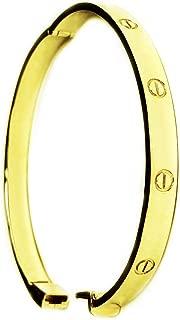 18k Solid Yellow Gold Screw LOVE Design Bangle/Bracelet 6mm 34 grams, 7 Inch