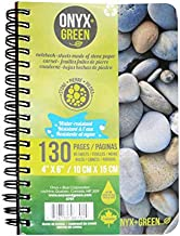 "Onyx & Green Spiral Notebook, 4""x6"", 65 Sheets of Stone Paper, Ruled, Eco Friendly (6701)"