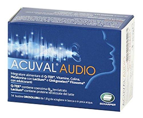 Acuval Audio Buste Orosolubili - Rimedio Naturale per supportare le funzioni sensoriali e vascolari dell'apparato UDITIVO (diminuzione della percezione dei suoni e acufeni uditivi) - Senza Glutine