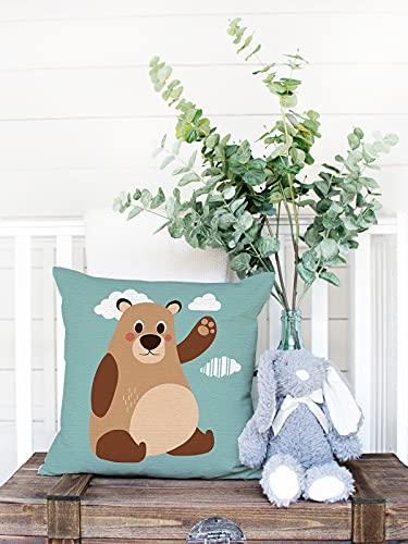 Fundas de almohada decorativas para guardería, 60 x 60 cm, fundas de almohada de lino y algodón