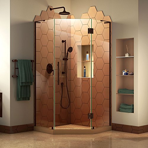 DreamLine Prism Plus 36 in. x 72 in. Frameless Neo-Angle Hinged Shower Enclosure in Oil Rubbed Bronze, SHEN-2636360-06