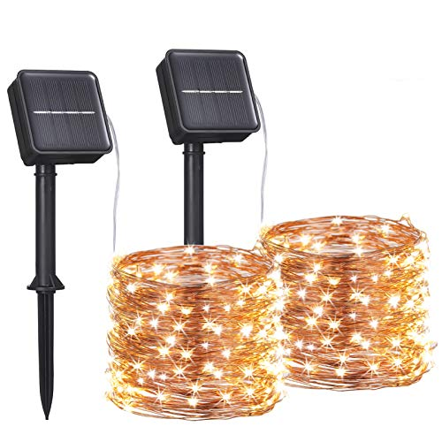 2 Pack Solar Powered Fairy Lights Outdoor Waterproof 12m 120led Solar String Lights Copper Wire Decorative Solar Garden Lights for Patio, Camping, Garden, Wedding, Party(Warm White)