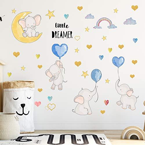 Bebé elefante pegatinas de pared decoración de pared de animales globos de corazón de arco iris pegatinas de pared para niños decoración de dormitorio de niñas y niños