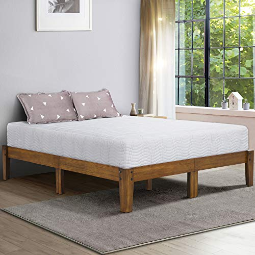 Ecos Living 14 Inch High Rustic Solid Wood Platform Bed with Natural Finish/No Box Spring/No...