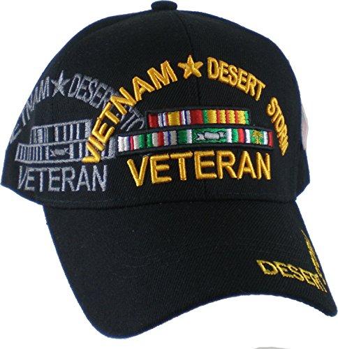Cultural Exchange Vietnam + Desert Storm War Veteran Ribbon Shadow Mens Cap [Black - Adjustable]
