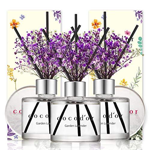 Cocodor Mini Flower Diffuser/Garden Lavender/1.6oz(50ml)/3Pack/Diffuser Oil Sticks Gift Set, Home & Car Diffuser