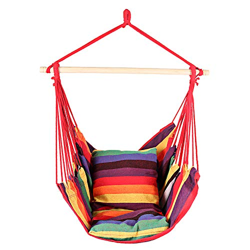 Hanging Hammock Chair, Hammock Chair with 2-Seat Cushions, Small Size Swing Chair, Hanging Chair for Yard/Bedroom/Patio/Garden, Max.265LBs