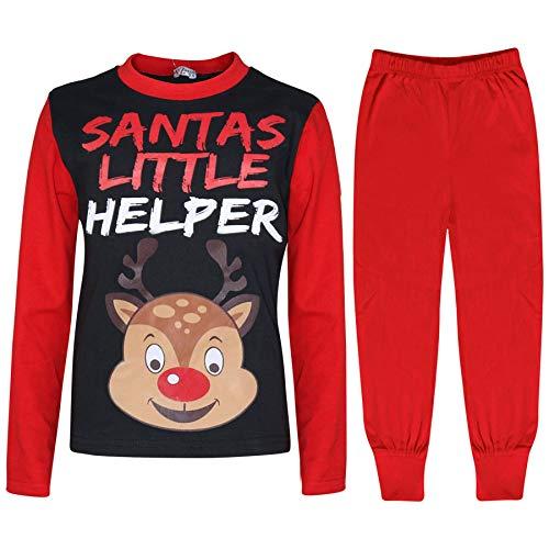 A2Z 4 Kids Unisex Pyjamas Santas Little Helper Reindeer - PJS Rudolph Red 3-4