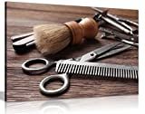 Barber Shop Decor Haircutting Tool Canvas Wall Art Picture Print (24x16)