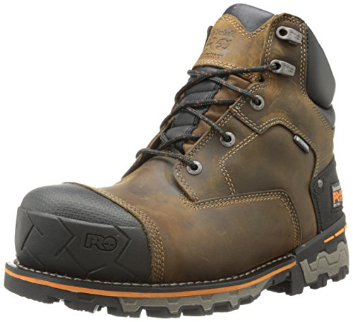 Timberland PRO Men's 6 Inch Boondock Soft Toe Waterproof Industrial Work Boot,Brown Oiled Distressed Leather,9.5 M US