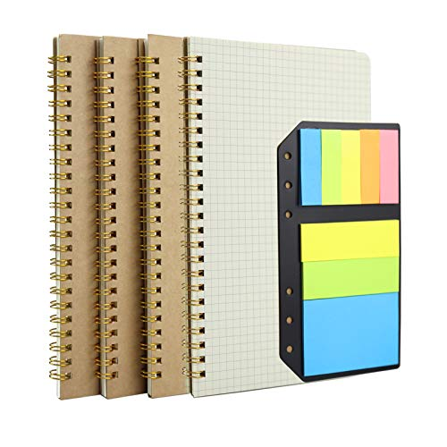 Grid Kraft Spiral Notebook, YEEHIN Graph Paper Notebook, A5 Spiral Journal with Color Page Markers, Spiral Bound Subject Note Book Diary 5.8 x 8.3 inch, 50 Sheets / 100 Pages (4 Pack)