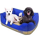 Blueberry Pet Heavy Duty Microsuede Overstuffed Bolster Lounge Dog Bed, Removable & Washable Cover w/YKK Zippers, 34' x 24' x 12', 11 Lbs, Blue and Beige Color-Block Beds for Cats & Dogs