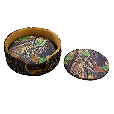 Pine Ridge Green Camouflage 4pc Coaster Set and Tree Trunk Holder Drink Coasters with Base for the Man Cave Decor Hunting Cabin Dining Furniture Gun Shop Décor