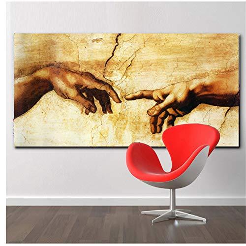 A&D Adam Hand Gottes Leinwand Wandkunst Home Dekorative HD Gedruckt Poster Malerei Moderne Bild Typ Für Wohnzimmer-50x100 cm Kein Rahmen
