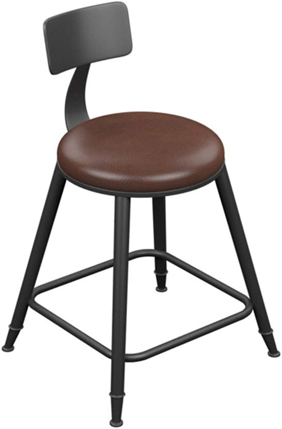 Round Barstool Iron Breakfast Dining Stool for Kitchen Bar Counter Home Commercial Chair High Stool with Backrest and PU Cushion LOFT Industrial Style (Size   Height 45cm)