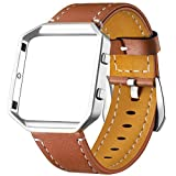 Dizywiee for Fitbit Blaze Leather Bands with Metal Frame, Classic...