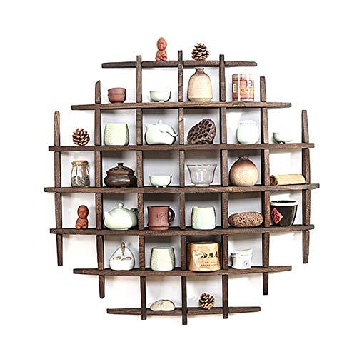 estantería Feifei Pared de Madera Maciza Colgante de la Sala de Estar Redonda Dormitorio Creativo Estante de exhibición 80 * 13 * 80 CM
