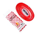 Hot Dog, Burger, Sandwich Serving Set for 4 Guests - 4 Red Baskets and 15 Red Check Food Basket Liners - Bundle 2 Items by Greenbrier