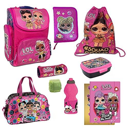 Familando Mädchen Schulranzen-Set LOL Surprise Dolls 10tlg. mit Federmappe Dose Flasche Sporttasche und Regenschutz