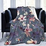 NCH UWDF Mariposas y Flores de Hibisco Manta de Cama de Felpa de Franela para bichos y Mariposas para sofá, Viajes, Regazo, cálida y acogedora (50'x 40')