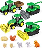 Geyiie Farm Toys for Boys, Farm Truck Vehicle Tractor with Trailers, Farm Cars Toy Set Farm Animal Combine Harvester Front Loader Construction Sand Truck Gifts for Kids Toddler Girls Summer Holiday