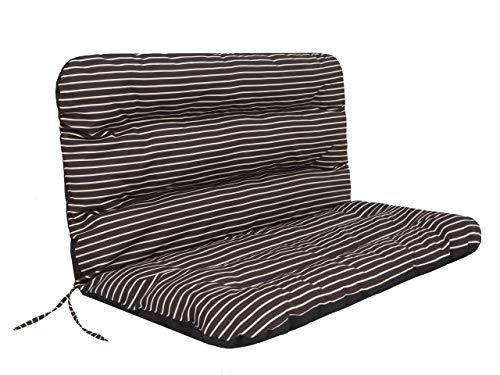 TS Coussin pour banc de jardin - 120 x 60 x 50 cm - Pour balancelle - Marron à rayures