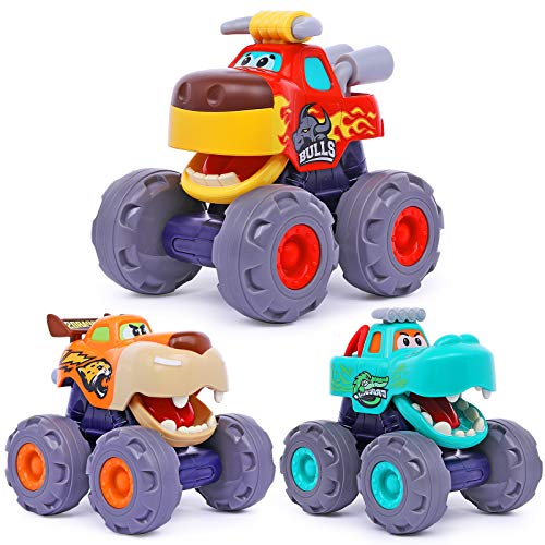 Toy Cars For 1 2 3 Year Old 3 Pack Monster truck Toy Push amp Go Crocodile Car Friction Powered Bull Car Pull Back Leopard Car Big Wheel Animal Toy Car Baby Toy Gift For 12 18 Month Boys Girls Toddlers