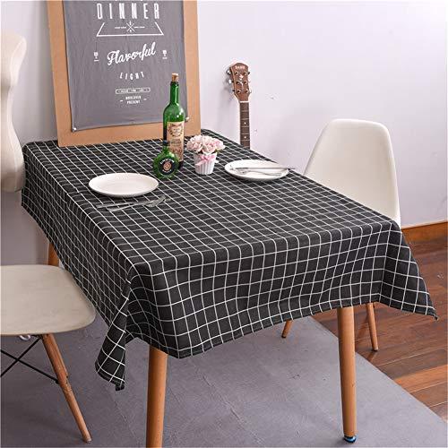 Baumwolle Leinen Tischdecke Abwaschbar, Fansu Kariert Eckig Garten Pflegeleicht Schmutzabweisend Tischtuch Fleckschutz Schmutzabweisend Tischwäsche Outdoor (120x120cm,schwarz)