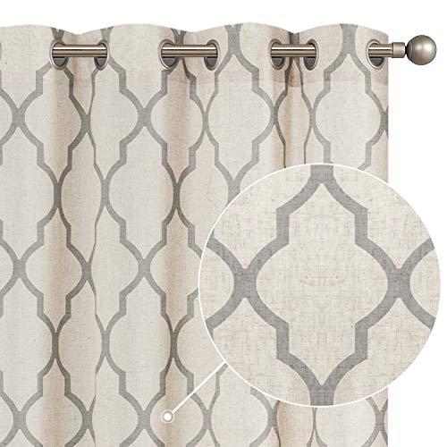 "jinchan Moroccan Tile Print Curtains for Living Room Quatrefoil Flax Linen Blend Textured Geometry Lattice Grommet Window Treatment Set for Bedroom 50"" W x 95"" L 2 Panels Grey"