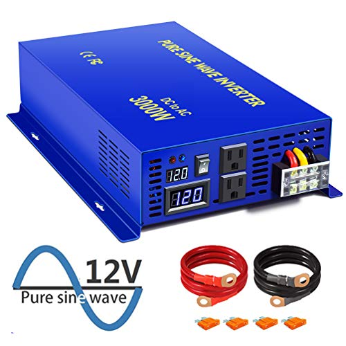 XYZ INVT 3000W Pure Sine Wave Power Inverter 12v to 110v 120v DC to AC with 2 USA Outlets 2 Set of Battery Cables, Power Converter Generator for Home Grid Off, Solar System, RV.(3000W12V)