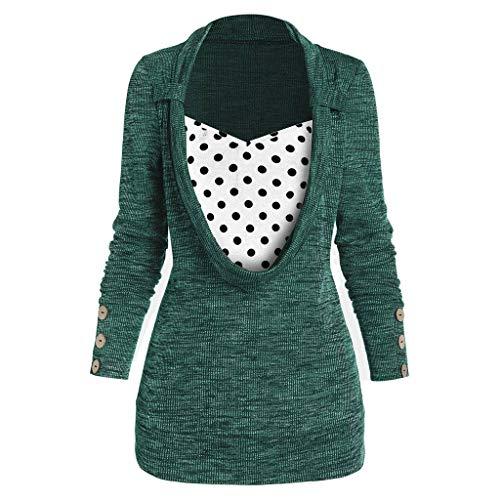 UJUNAOR Damen T-Shirt Langarm-Sweatshirt Einfarbig Beiläufig Blusen Tunika Tops Frauen Polka Dot Print Button Verschönert Faux Twinset Zweiteilige Bluse Tops