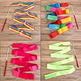 ANCIRS 4 Pack 2-Meter/ 78.7inch (6.56 ft) Dance Ribbons, Rainbow Streamers Rhythmic Gymnastics Ribbon, Baton Twirling Wands on Sticks for Kids Artistic Dancing