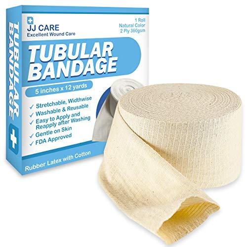 """JJ CARE Elastic Tubular Bandage 5"""" x 12 Yards [Premium] Cotton Stockinette Size G, Tubular Stockinette for Legs and Knees, 2 Ply Cotton Elastic Bandage Wrap, Tubular Compression Bandage"""