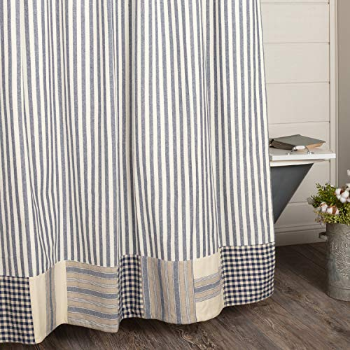 Piper Classics Doylestown Blue Ticking Shower Curtain w/ Block Border, 72x72, Blue & Cream Checks, Grain Sack and Ticking Stripes, Rustic Farmhouse, Country, Cottage Bathroom