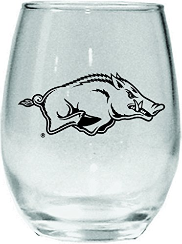 Nordic Promos NCAA 15oz Ohne Stiel Wein Glas mit Schwarz Team Logo, Herren Damen Unisex, Arkansas Razorbacks