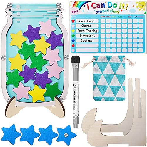 Fiada 25 Piezas Tabla de Tareas Tarro Estrella Tabla Magnética de Tareas de Arcoíris para Niños Cuadro de Buen Comportamiento de Niños Tabla Tarros Estrella Magnética para Niños Reward Chart