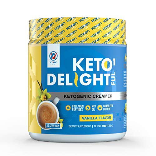 Coffee Keto Creamer (30 Servings) - Grass-Fed Butter, Coconut Oil, MCT Oil & Collagen Peptides - Zero Carbs, 100% Gluten & Dairy Free, Absorbs and Digests Easy, Delicious Vanilla Flavor