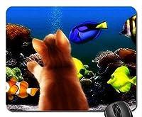 魚をテーマにしたゲーミングマウスパッド、子猫と水族館のマウスパッド、マウスパッド(猫のマウスパッド)