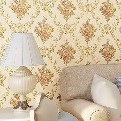 LSWSSD Pastoralen Floral Damast Tapete 3D Geprägte Vliestapeten Für Schlafzimmer Wohnzimmer Damaskus Tapeten Wohnkultur Rolle 5,3㎡ GELB