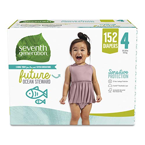 Seventh Generation Baby Diapers Size 4 152 Count One Month Supply for Sensitive Skin