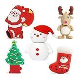 5pcs*16GB Navidad USB Flash Drive Lovely Santa Claus&Alce&Muñeco de Nieve&Arbol de Navidad USB Pen Drive Sets Sticks Gift For Students Kids Children Memoria U Disk