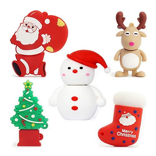 LEIZHAN 5 pezzi 32GB USB Pen Drive Carino USB Serie di Natale Regali per i bambini Supporta PC Tablet portatile