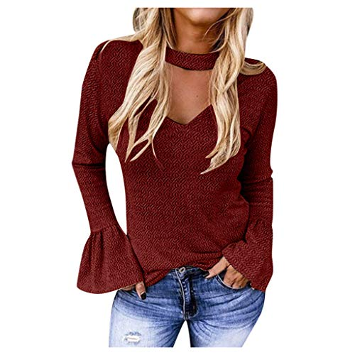 DQANIU Damen Wintermode Schlanke Hornhülse Bedrucktes T-Shirt Top Bluse Sexy V-Ausschnitt Solide Schlanke Elegante Damen Pullover Bluse